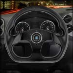 RISHIL WORLD Irregular Shape Carbon Fiber Car Modified Racing Sport Horn Button Steering Wheel, Size: 32.5x29x4cm
