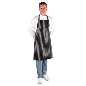 Whites Chefs Apparel Butchers Schürze Polycotton schwarz und weiß gestreift Restaurant