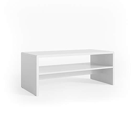 Ablage weiß - Wohnzimmer Sofatisch Kaffeetisch Beistelltisch 100 x 40 cm - Top Deisgn MDF (Weiß) ()