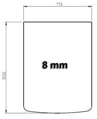 Glasbodenplatte Segmentbogen 770 x 1030 x 8 mm klar Facettschliff