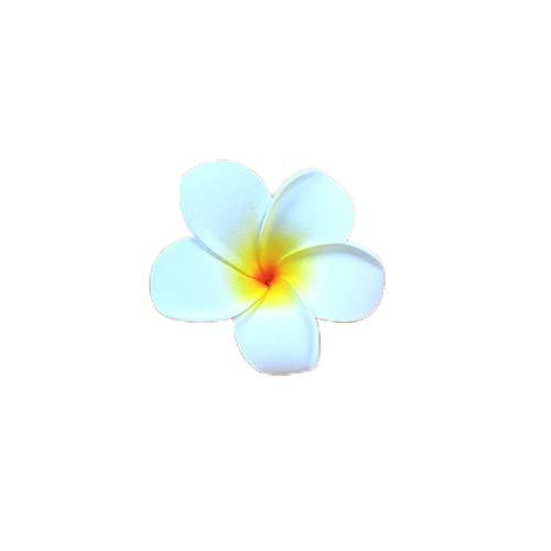 Ogquaton Haarklammer mit künstlichen Blumen, hawaiianisches Haar, Strand, Hochzeit, Blume, Haarspange, 1 x 4 cm, Weiß