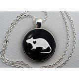 Ratten-Halskette, Glaskuppel-Anhänger, niedliches Geschenk für Haustierliebhaber, runder Kunst-Cabochon-Charm-Schmuck, Haustier-Memorial, Maus-Schmuck