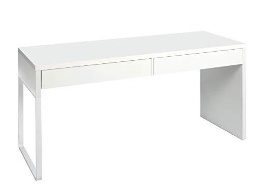 Habitdesign 002315BO - Mesa escritorio, color blanco brillo, dimensiones 138 x 75 x 50 cm