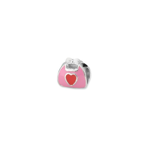 Black Bow Jewellery Company Ring Sterling-Silber 925 rosa Emaille-Geldbörse Rot-Charm für 3 mm Charm-Armbänder (Bow Handtasche Rosa)
