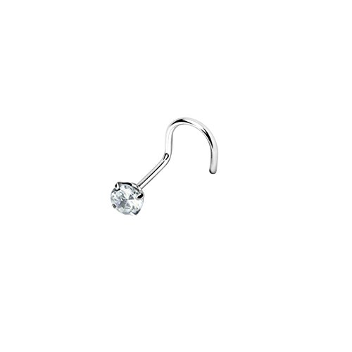 Paula & Fritz® Prong ZIRKONIA Clear Screw 0.8mm STABSTÄRKE Nasen-Piercing Nasenpiercing-s Nose für Nasenfluegel als Nasenschmuck Nasenstecker Nostril Edelstahl Chirurgenstahl 316L