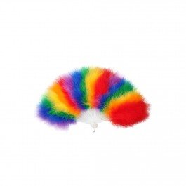 Gay Pride/ Carnival Rainbow Feather Fan Fancy Dress Accessory