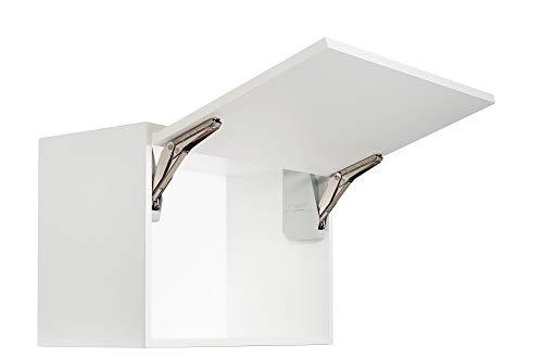 Gedotec Klappenhalter Küchen-Schrank Kesseböhmer Klappenbeschlag Möbel-Klappen Free Flap Mini   Modell B 1,4-7,9 kg   Möbelbeschläge   1 Garnitur - Original Klappenscharnier Komplett-Set weiß