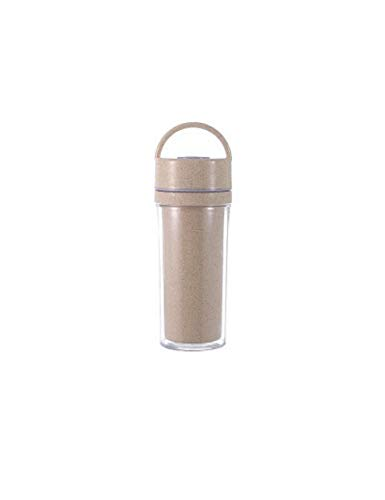 LMSHM Trinkflasche Sportflasche Doppelflasche Wasserkocher Protein Shaker Outdoor Sports Cup Kunststoff TrinkflascheTragbare Nette Farbe Studentenhandschale,301-400 Ml,Griff Beige