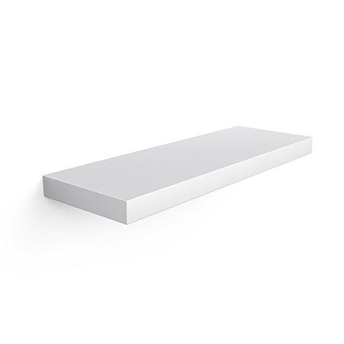 Songmics mensola da parete scaffale design libreria, carico massimo 15 kg, 60 x 20 x3,8 cm, mdf, bianco lws16wt