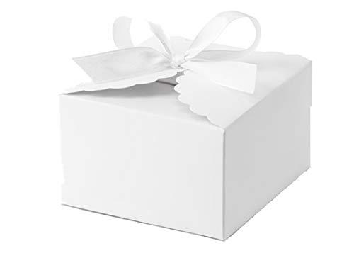 Pudp42-008 - 30 scatoline porta confetti bianche a forma di nuvola + nastrino bianco