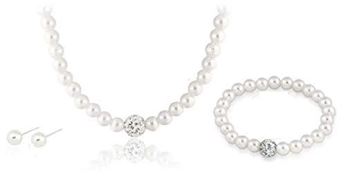 Noa-B Sarahmi® Hochzeits Set  Perlen Kette und Ohrringe mit Strass Hochzeitsschmuck Ivory