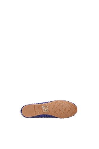 Armani Jeans Ballerines En Cuir Verni Bleu