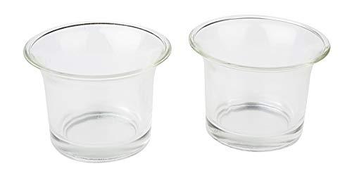 VBS Teelichthalter Teelicht-Glas geschwungen 6,5cm hoch Votives klar transparent Glas Rand