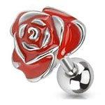 piercing-cartilagine-trago-a-barretta-in-acciaio-chirurgico-e-rosa-smalto-epossidico-rosso-316l