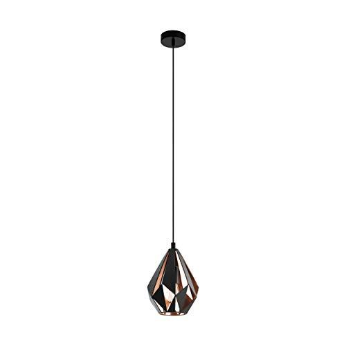 EGLO CARLTON 1 Hängeleuchte Stahl 60 W, schwarz, kupfer - Kleine Hängeleuchte