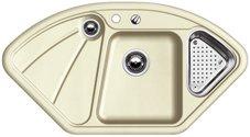 Preisvergleich Produktbild Blanco Delta Jasmin Eck Keramik-Spüle Beige Eckspüle Küche Eckeinbau Spülbecken