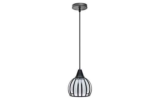 Finike Black & White Round Metalic Pendant Light