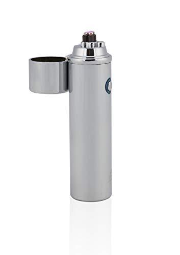 TESLA Lighter T02 Lichtbogen Feuerzeug, elektronisches USB Feuerzeug, Double-Arc Lighter, wiederaufladbar, Silber