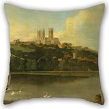 Uloveme Throw Pillow Case Of Oil Painting Joseph Baker Of Lincoln - A View Of The Cathedral And City Of Lincoln From The River 16 X 16 Inches / 40 By 40 Cm,best Fit For Teens Girls,office,floor,kid