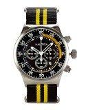 Nautica Herren NST Chronograph Edelstahl Fall Schwarz & Gelb Nylon Armbanduhr - Nautica Watch Gelb