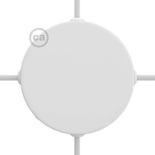 Creative-Cables Lampenbaldachin Kit Metall mattweiß mit 4 Seitenbohrungen, inklusive Zubehör - Weißen Baldachin Kit