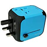 MaximalPower Universal Travel Adapter Power Outlet with Dual USB Charger, Universal AC Socket, Wall Outlet Plugs for European, UK, US, AU & Asia - Built-in Spare Fuse