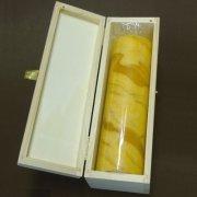 ProPassione Bougie cylindrique en cire d'abeille dans un coffret, couleur ambre, marbrée, 1bougie par coffret, dimensions: h 20 x d 6 cm