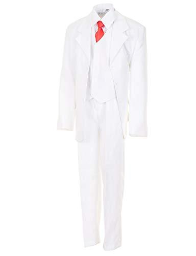 WEI KE XI Festlicher 5tlg. Jungen Anzug in vielen Farben mit Hose, Hemd, Weste, Krawatte und Jacke M313ws Weiß Gr. 14/152 / 158