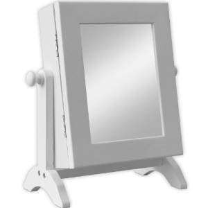 Schmuckschrank mit Spiegel Spiegelschrank Schmuckkasten Schmuckkästchen Standspiegel Schmuckkommode Schmuck Spiegel Weiß