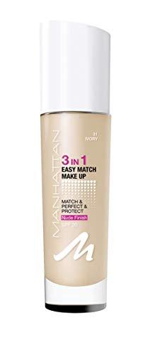 Manhattan 3in1 Easy Match Make Up, ölfreie Foundation für einen makellosen Teint, Farbe 031 ivory, 30ml