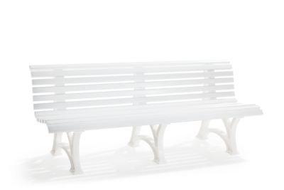 Parkbank aus Kunststoff - mit 13 Leisten - Breite 2000 mm, weiß - Bank Gartenbank Kunststoff-Bank Kunststoff-Bänke Ruhebank