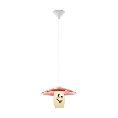 Suspension enfant champignon FUNJI blanc et rouge en PVC