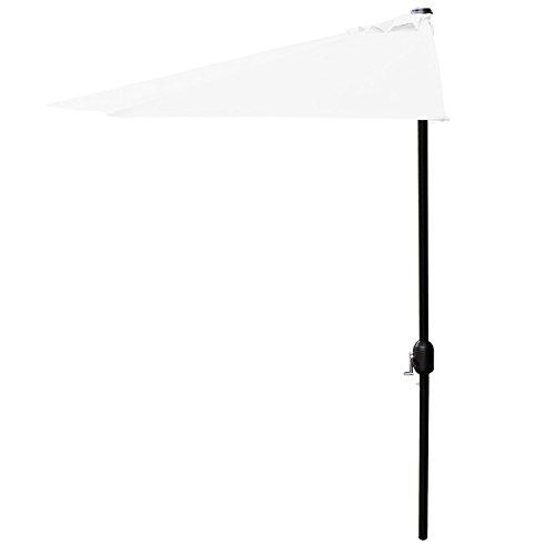 [casa.pro] Sonnenschirm mit Kurbel weiß halbrund Ø300cm groß Balkon Garten - 2