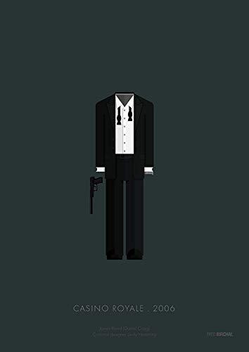 James Bond Casino Royale Kostüm - Kunstdruck, Fred Birchal of Casino Royale James Bond 2006 Kostüm, gedruckt auf 300 g/m² Papier, mit Rahmen, Aber ohne Passepartout