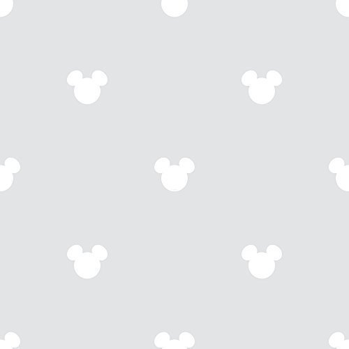Image of Galerie Official Disney Mickey Mouse Logo Pattern Cartoon Childrens Wallpaper (Grey MK3015-5)