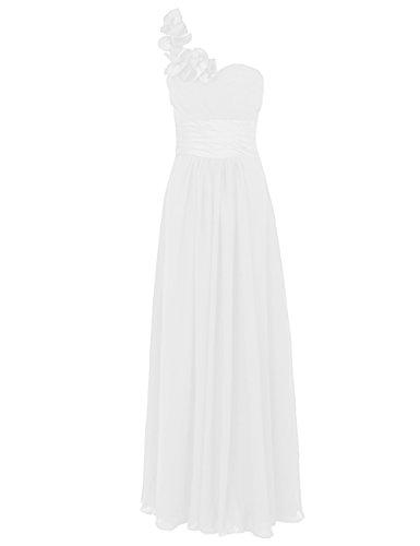 Dresstells, Une épaule robe de soirée, tenue de mariage, robe de cérémonie, robe de demoiselle d'honneur Ivoire