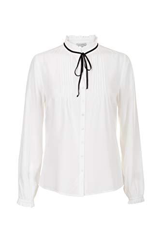 036 Schleife (Promiss Damen Bluse Einfarbig Truffle B Klassisch Business Hemd Viskosestoff Stehkragen Weiß, 036)