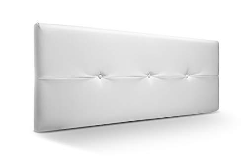 SUENOSZZZ - Cabecero de Madera Jazmin, tapizado Acolchado en Polipiel Color Blanco. Cabeceros Madera para Dormitorio | Cama Matrimonio | Cama Juvenil | Camas de 140 cm, 135 cm, 120 cm