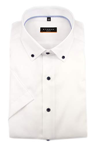 eterna Herren Kurzarm Business Hemd Slim Fit Oxford Button-Down-Kragen BD Unifarben 8834.G083 (Weiß, 38) Button-down-band