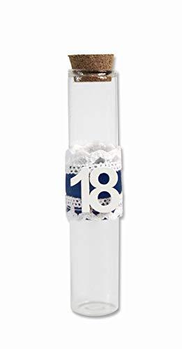 Vetrineinrete® bomboniere portaconfetti 36 pezzi per 18 anni di vetro tappo di sughero con nastro diciottesimo compleanno maschio o femmina (blu) c64