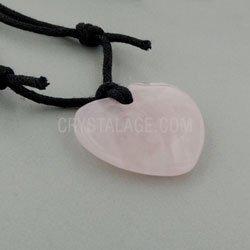 CrystalAge - Collana con pietra al quarzo, a forma di cuore, colore: Rosa - Quarzo Rosa Cuore