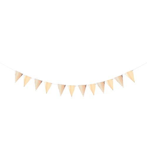Baoblaze Dreieck Banner Wimpelgirlande Wimpelkette Deko Girlande mit Wellenmuster für Jede Anlässe, aus Papier - Roségold