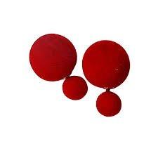 Femnmas Red Cotton Ball Double Side Earrings For Girls