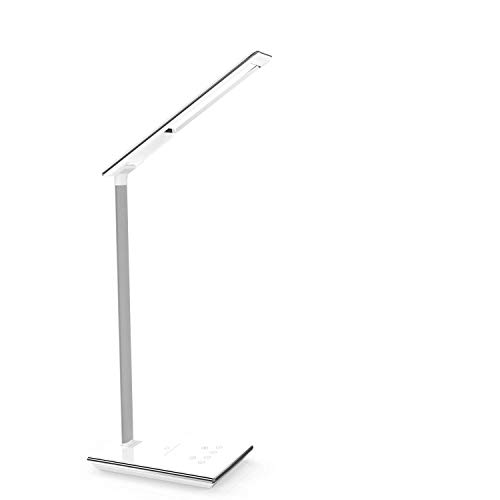 Xinxin-star Qi Wireless-Ladegerät, Schreibtischlampe Wireless Charging Lamp mit USB-Ladeanschluss, Touch-Steuerung, 4 Farbmodi, Nachtlicht (Black) -