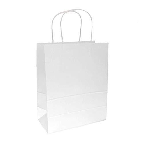 veklblan 10 PCS weißen Kraftpapier-Geschenk-Beutel Groß mit Griffen für das Einkaufen, Verpackung, Party, Kunsthandwerk, Geschenke, Hochzeit, Recycling, Geschäftsleben, Goody und Waren