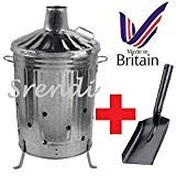 Srendi® 90 Litre 90L Extra Large Galvanised Metal Incinerator Recycle Garden Rubbish Fire Burning Binwith FREE SHOVEL