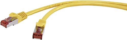Renkforce RJ45 Netzwerk Anschlusskabel CAT 6 S/FTP 15m Gelb mit Rastnasenschutz, vergoldete Steckkon