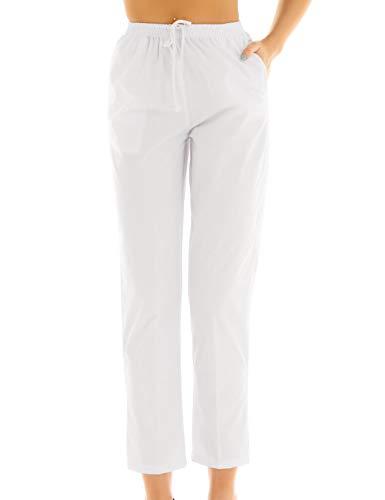 CHICTRY Damen OP-Hose Schlupfhose Schwesternhose Uniformen Pflegerhose Weiß Baumwolle Medizin Arbeitshosen mit Kordelzug Medi Hose S-XXL Weiß Small - Eine Medizinische Medizin