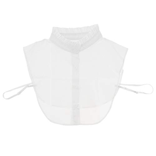 Baoblaze Frauen Kragen Kostüm Abnehmbare Hälfte Shirt Bluse Chiffon Spitze Blusenkragen Shirtkragen für Kleid DIY - Weißer T-Shirt-Typ