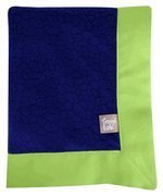 Navy Blue Mosaic Burnout Velour With Chartreuse Green Matte Satin